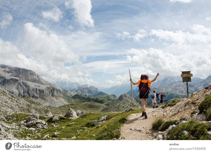 Human being Woman Vacation & Travel Youth (Young adults) Young woman Summer Clouds Joy Far-off places 18 - 30 years Mountain Adults Feminine Happy Freedom Group