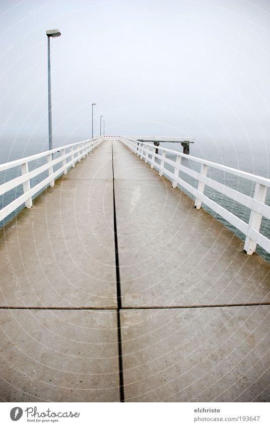 White Ocean Far-off places Gray Sadness Coast Fog End Infinity Lantern Crucifix Footbridge Baltic Sea Handrail Lamp post Schleswig-Holstein