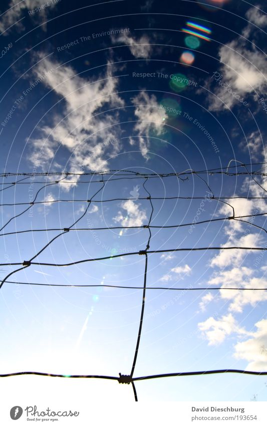 Fence up to the clouds Sky Clouds Beautiful weather Blue White Wire Grid Knot Network Barrier Barred Border Boundary Cloud formation Cloud pattern Illuminate