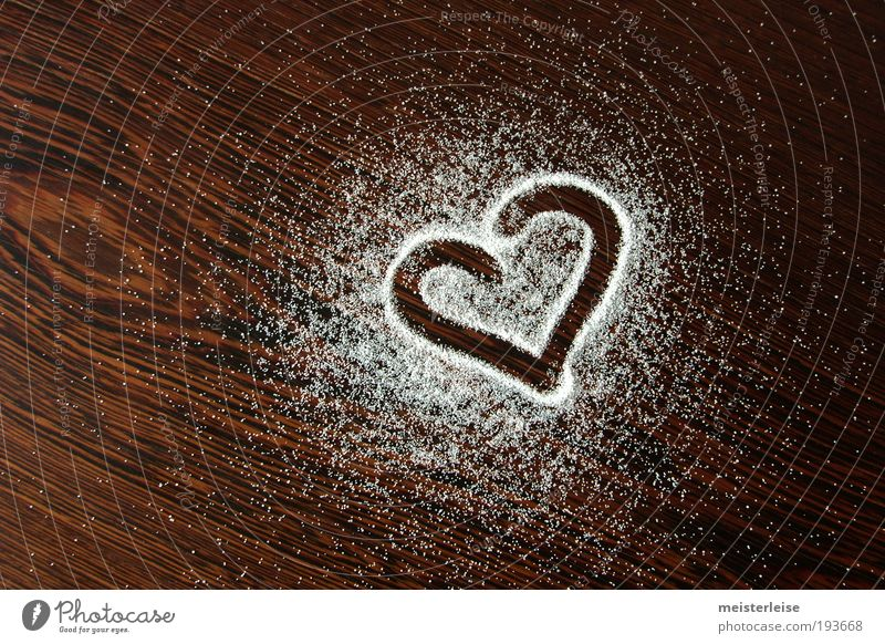 I prefer you to the salt. Wood Sign Heart Salt Wood grain Sweet White Emotions Love Grateful grains Scattered Wenge Sugar Candy Colour photo Subdued colour