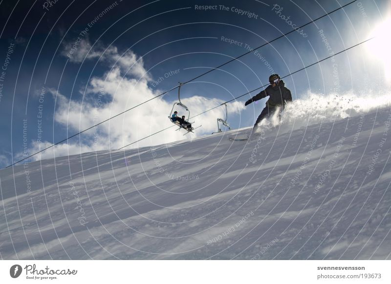 Vacation & Travel Winter Mountain Movement Snow Sports Tourism Speed Downward Snowboard Winter sports Winter vacation Funsport Ski lift Ski run Snow layer