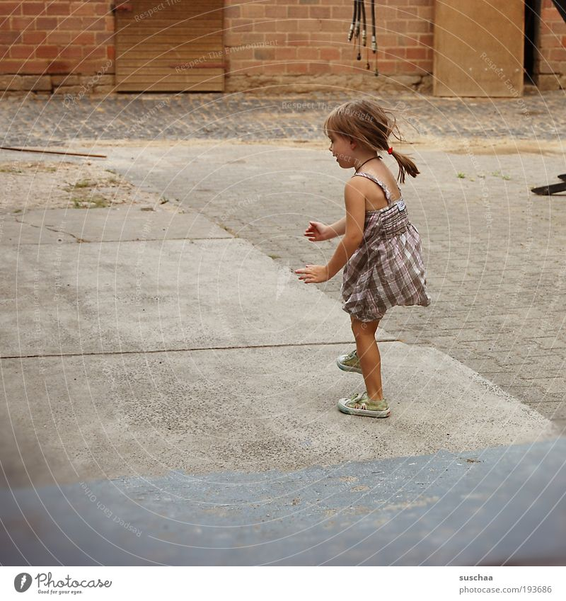 child. without cat II Child Girl Hair and hairstyles 3 - 8 years Infancy Concrete Movement Jump Happiness Natural Joy Life Idyll Contentment Farm Courtyard Hop