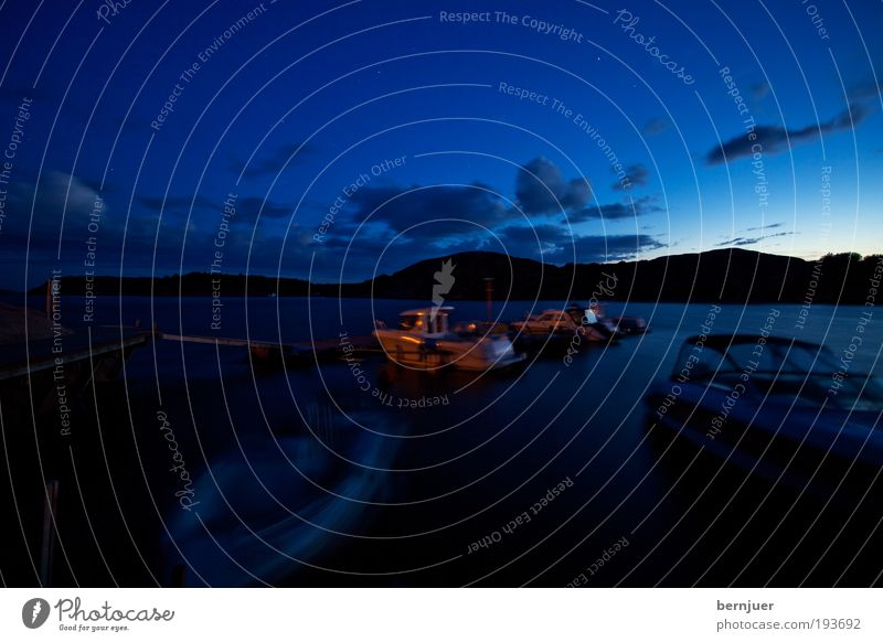 Schlafende Schiffe Water Old Blue Coast Weather Horizon Transport Harbour Night sky Hill Silver Navigation North Sea Sunset Sunrise Fjord