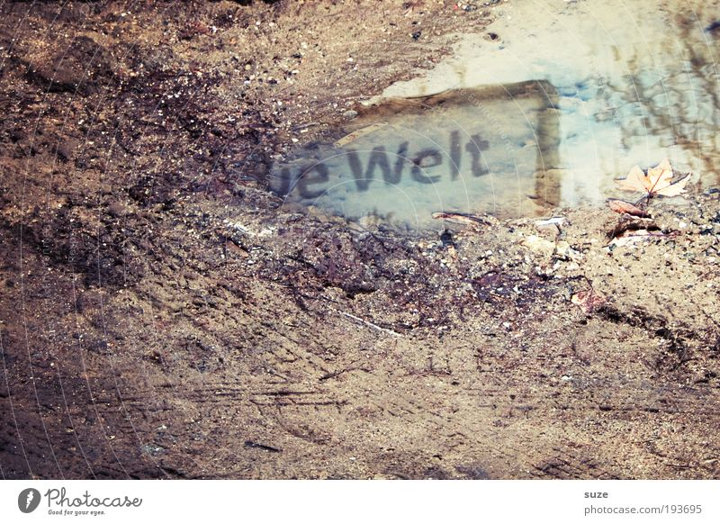 Water Environment Wall (building) Autumn Exceptional Earth Dirty Signs and labeling Characters Future Ground Construction site New Tracks Typography