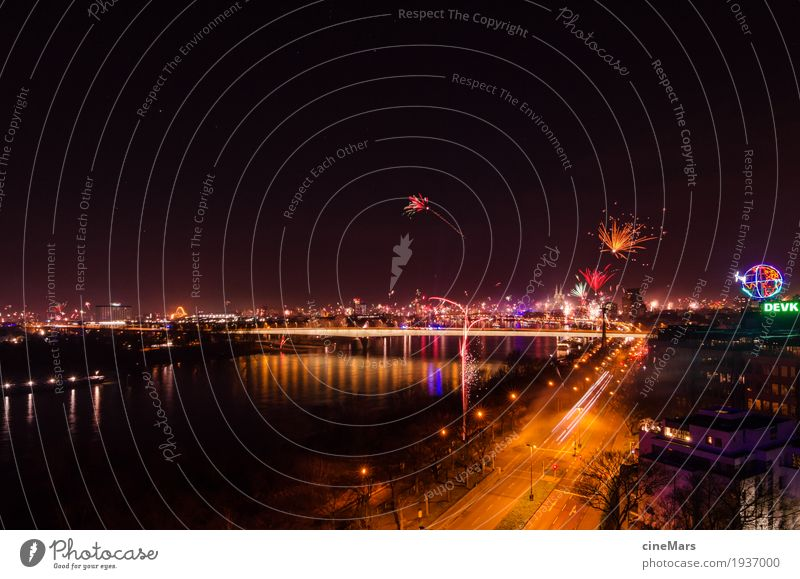 Cologne celebrates New Year's Eve with the world Night life Party Feasts & Celebrations Dance Eating Drinking Cloudless sky River Town Downtown Skyline Bridge