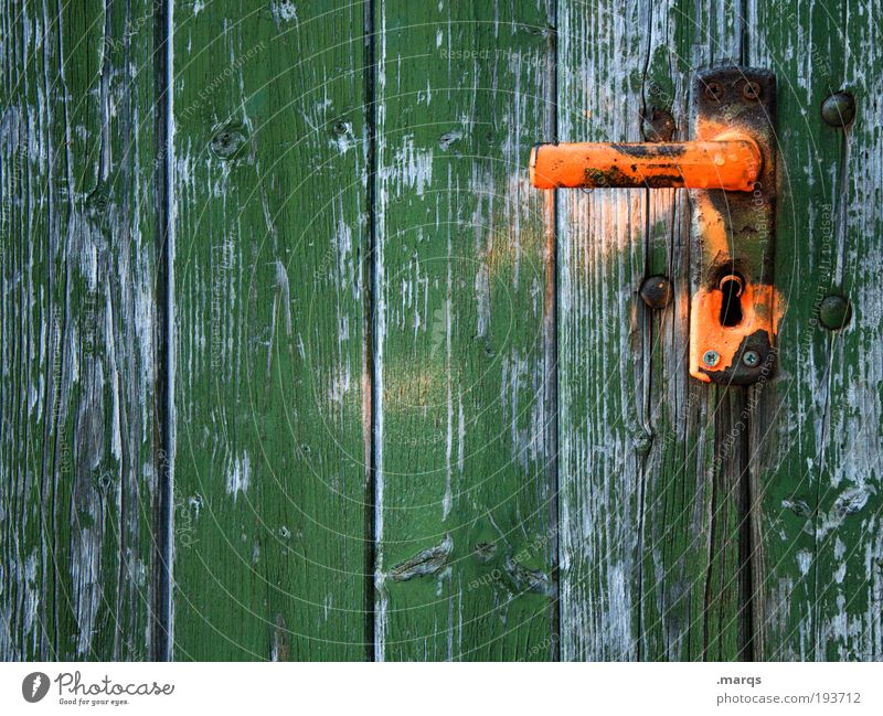 admittance Living or residing Flat (apartment) Redecorate Door Wood Old Simple Green Decline Transience Orange Contrast Colour photo Multicoloured Exterior shot