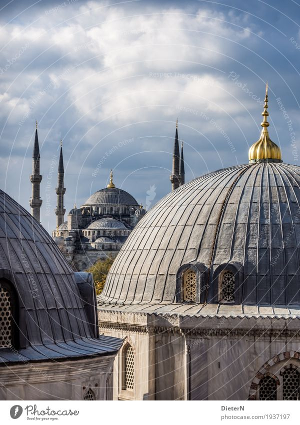 Blue Mosque Architecture Sky Clouds Beautiful weather Istanbul Turkey Europe Town Downtown Old town Deserted Tower Manmade structures Building Facade Roof