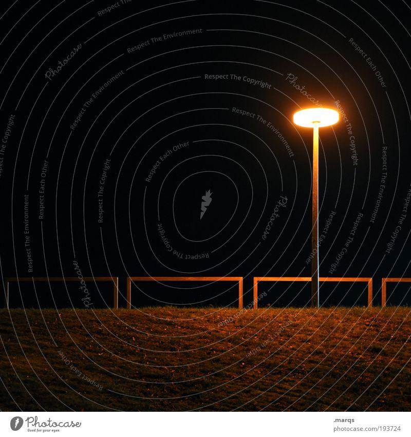 alone in the dark Grass Park Lantern Handrail Illuminate Dark Creepy Town Black Emotions Concern Grief Loneliness Fear Stress Colour photo Exterior shot