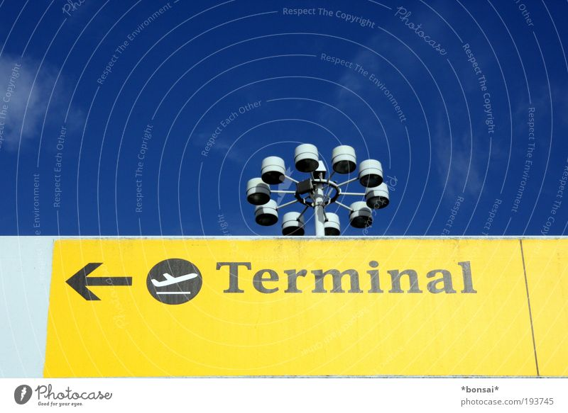 Sky Blue White Vacation & Travel Yellow Signs and labeling Arrangement Transport Tourism Aviation Characters Illuminate Signage Airport Wanderlust