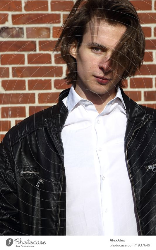 looked - young man in leather jacket and shirt in front of a brick wall Style Joy Stone wall Young man Youth (Young adults) Hair and hairstyles Face