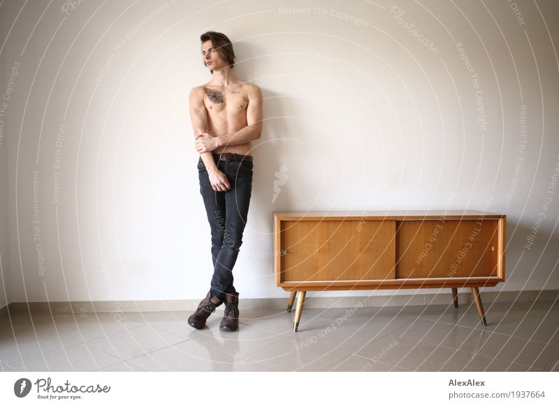 Youth (Young adults) Naked Town Beautiful Young man 18 - 30 years Adults Lifestyle Style Room Contentment Body Esthetic Authentic Wait Observe