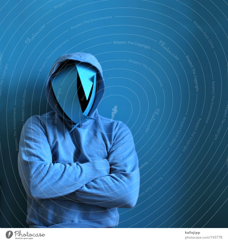 Human being Man Blue Adults Face Dark Arm Masculine Exceptional Clothing Threat Cloth Mask Mysterious Creepy Anger