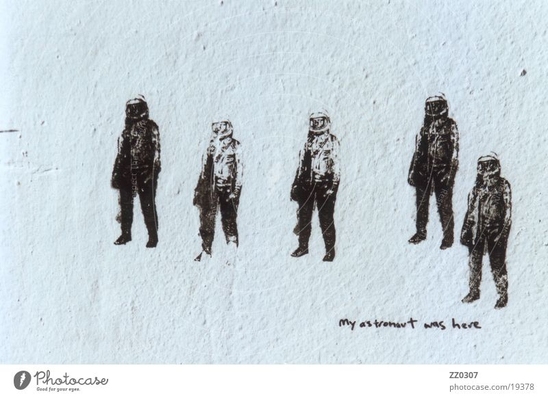 my astronaut was here Wall (building) Mural painting Town Things graffiti pochoirs stencils