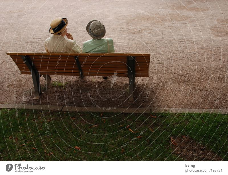 Human being Woman Calm Far-off places Senior citizen Park Together Leisure and hobbies Elegant Places Communicate Bench Hat 60 years and older
