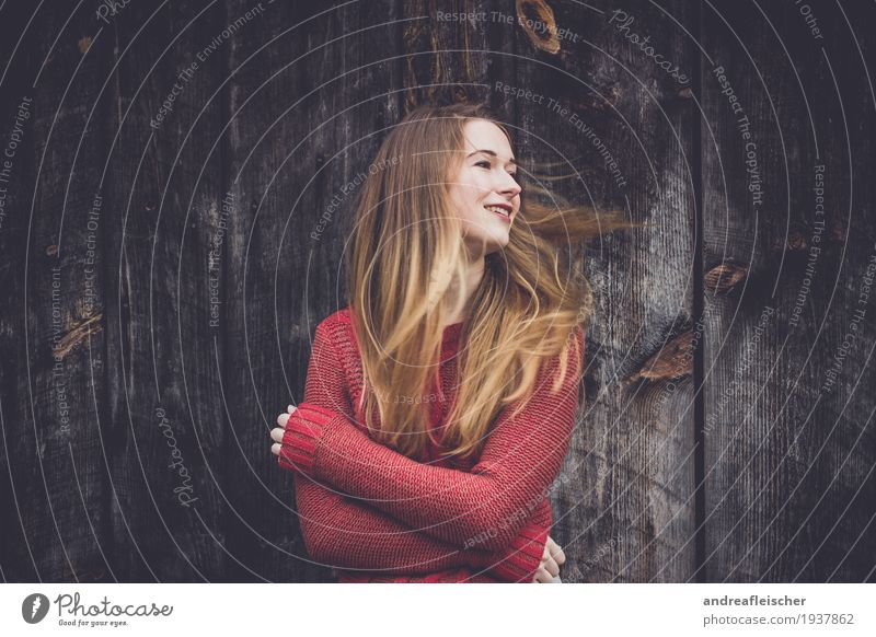 windswept Feminine Young woman Youth (Young adults) 1 Human being 18 - 30 years Adults Sweater Blonde Long-haired Movement Rotate Smiling Looking Dream Embrace