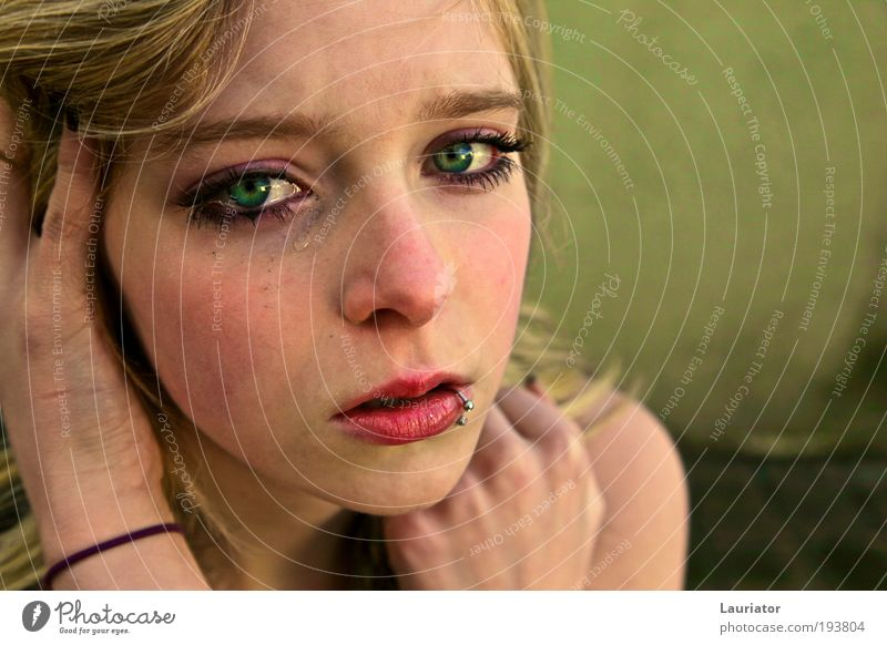 Immutable Feminine Young woman Youth (Young adults) Eyes 1 Human being Piercing Blonde Freeze Looking Cry Authentic Emotions Sadness Longing Disappointment