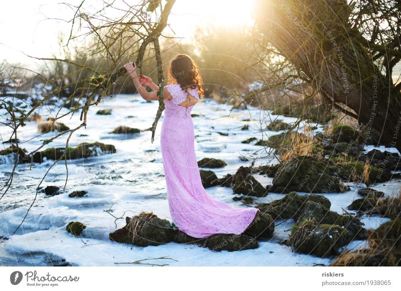 Human being Woman Nature Youth (Young adults) Young woman Beautiful Tree Landscape Winter 18 - 30 years Adults Environment Natural Feminine Illuminate Dream