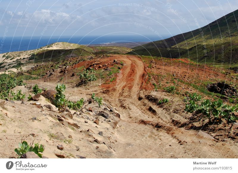 Nature Vacation & Travel Ocean Landscape Far-off places Freedom Sand Horizon Island Hill Tracks Africa Discover Action São Vicente Cabo Verde