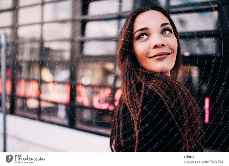 Portrait of happy smiling young women Lifestyle Joy Human being Young woman Youth (Young adults) Woman Adults 18 - 30 years Brunette Smiling Happy Beautiful