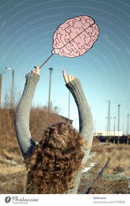 Human being Sky Nature Plant Environment Head Hair and hairstyles Think Back Arm Fingers Clothing Paper Balloon Education Creativity