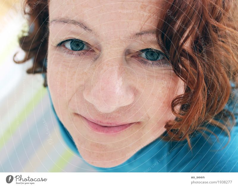 ;-) Woman Adults Head Hair and hairstyles Face 1 Human being 30 - 45 years Red-haired Curl Smiling Looking Authentic Uniqueness Natural Positive Brown Turquoise