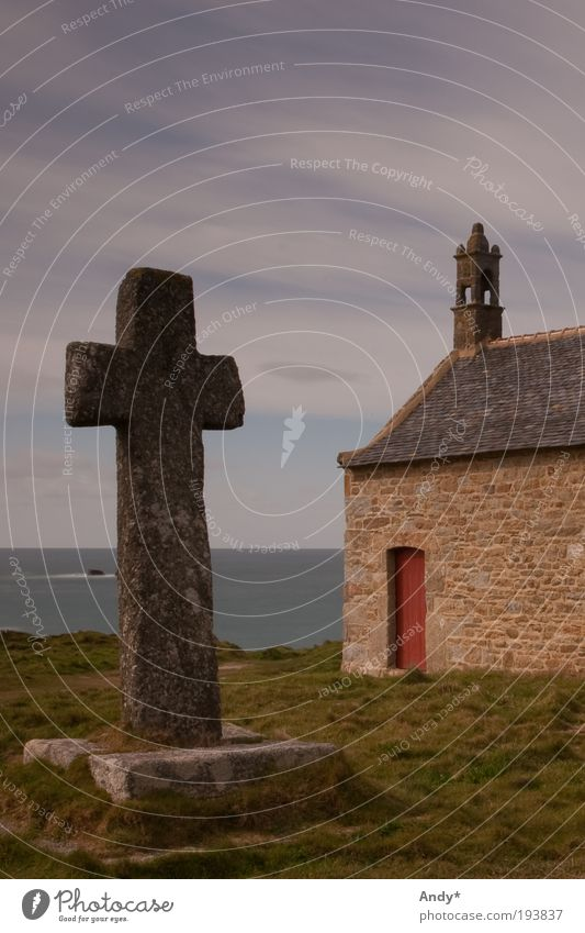 Sky Ocean Vacation & Travel Landscape Religion and faith Coast Horizon Christian cross France Mystic Tourist Attraction Temple Brittany Chapel Finistere