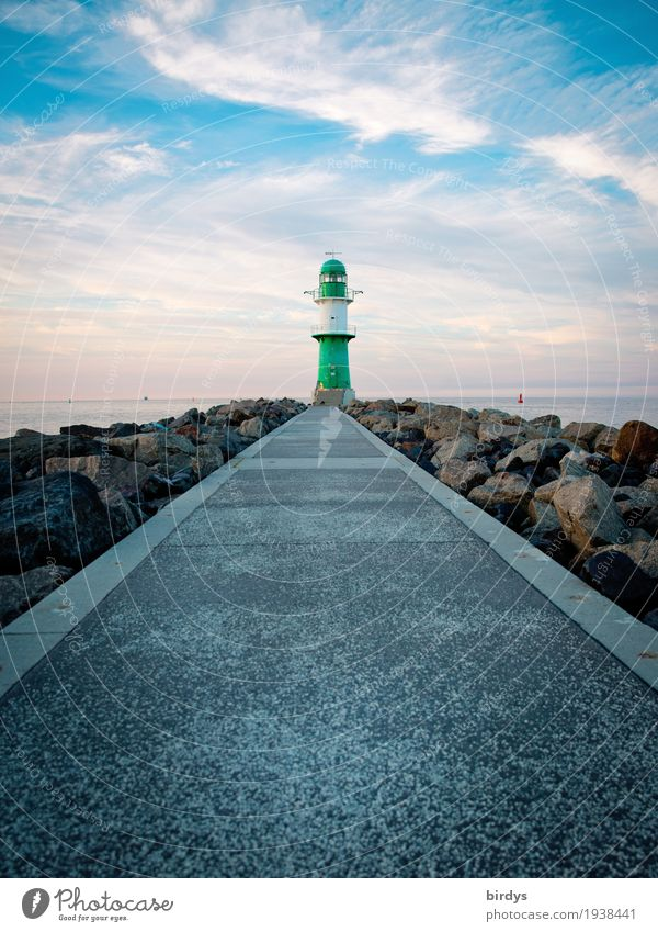 The lamp of Warnemünde Vacation & Travel Sightseeing Sky Clouds Horizon Coast Baltic Sea Lighthouse Lanes & trails Navigation Illuminate Esthetic Exceptional