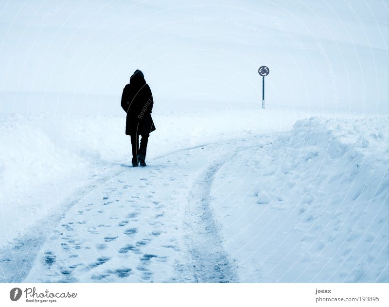 roundabout Woman Adults 1 Human being Winter Ice Frost Snow Hill Traffic infrastructure Pedestrian Street Going Dream Sadness Cold Blue Loneliness Movement