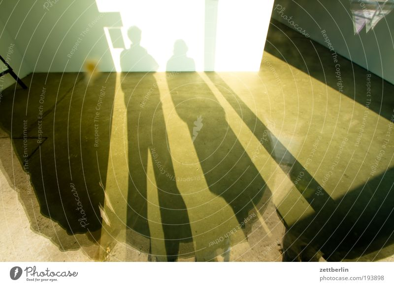couple's shadow Shadow Light Structures and shapes Wide angle Couple In pairs Shop window Glass Stand Empty Expressionless Vacancy Store premises