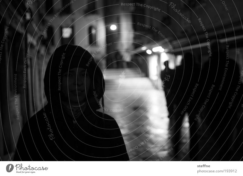Human being Youth (Young adults) City Adults 18 - 30 years Young woman Hooded (clothing) Venice Old town Night life Environment Black & white photo Going out Woman