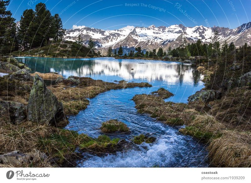 tributary at the Berglisee Nature Landscape Water Sky Summer Alps Mountain Lake mountain lake Fluid Free Happy Spring fever Dream Wanderlust Colour photo