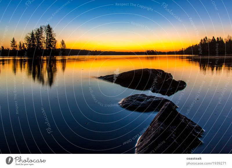 Morning mood at Salajärvi Landscape Water Cloudless sky Sunrise Sunset Autumn Beautiful weather Lakeside Breathe Exceptional Cold Blue Yellow Discover Stone