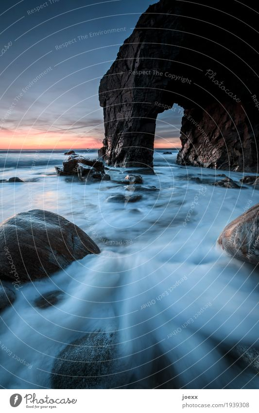 Sky Blue Landscape Loneliness Black Coast Brown Rock Orange Wild Horizon Waves Beautiful weather Wet Wanderlust Maritime