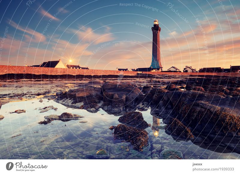 Sky Old Water Calm Beach Wall (building) Coast Wall (barrier) Rock Beautiful weather Large Tall Protection Safety France Lighthouse