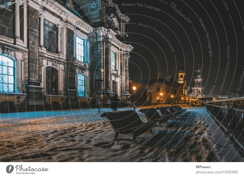on the terrace shore Bench Academic studies Town Human being Capital city Downtown Old town Religion and faith Church Dome Dresden Street lighting Snow Snowfall