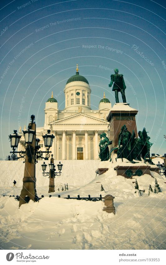 |Helsinki|#3| Vacation & Travel Tourism Trip Winter Snow Winter vacation Art Sculpture Finland Europe Capital city Church Dome Tourist Attraction Monument Blue