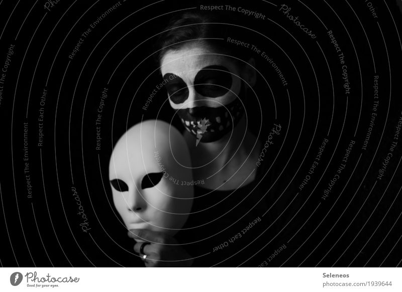 Secure your mask before you help others Hallowe'en Human being Feminine Woman Adults 1 Mask Creepy Black White Emotions Moody Sadness Perturbed Timidity
