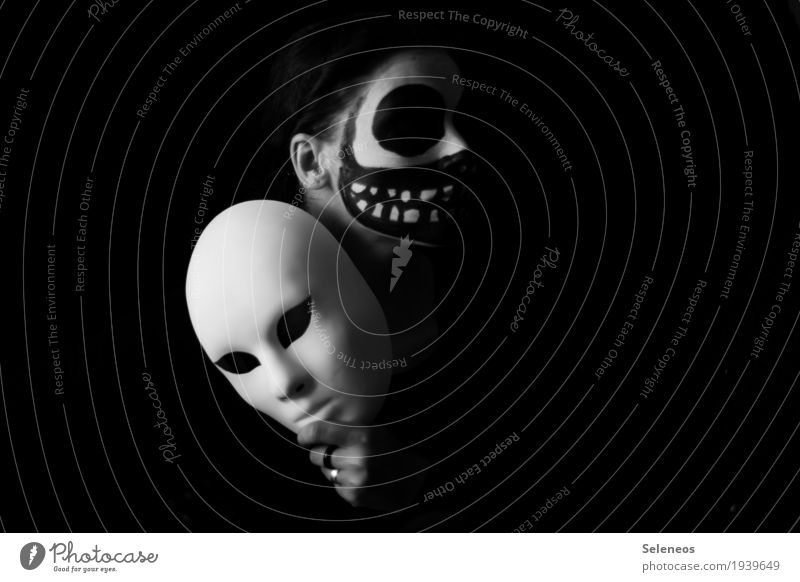 the dark side is behind the mask Carnival Hallowe'en Human being Face Eyes Nose Mouth Lips Teeth 1 Mask Dark Creepy Emotions Moody Grief Death Fear Perturbed