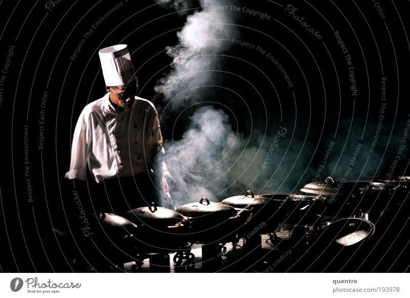 Human being Adults Black Masculine Kitchen Cap Smoke Event Cook Steam Stove & Oven Culture 30 - 45 years Pan Room Night