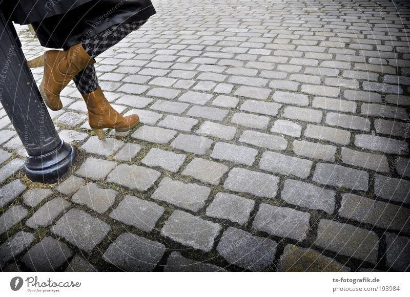 Woman Human being Youth (Young adults) Black Adults Street Feminine Gray Stone Legs Feet Brown Wait Places Stand Lantern
