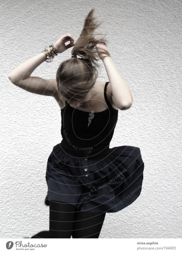 sometimes Dance Feminine Young woman Youth (Young adults) Hair and hairstyles Arm Skirt Brunette Braids Movement Listen to music Jump Happiness Happy Funny