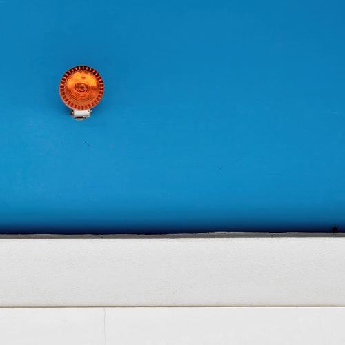 good for your eyes Style New Media Simple Positive Clean Blue Azure blue Orange Illuminate Bright Lighting Warning signal Alarm Alarm system Round Redecorate