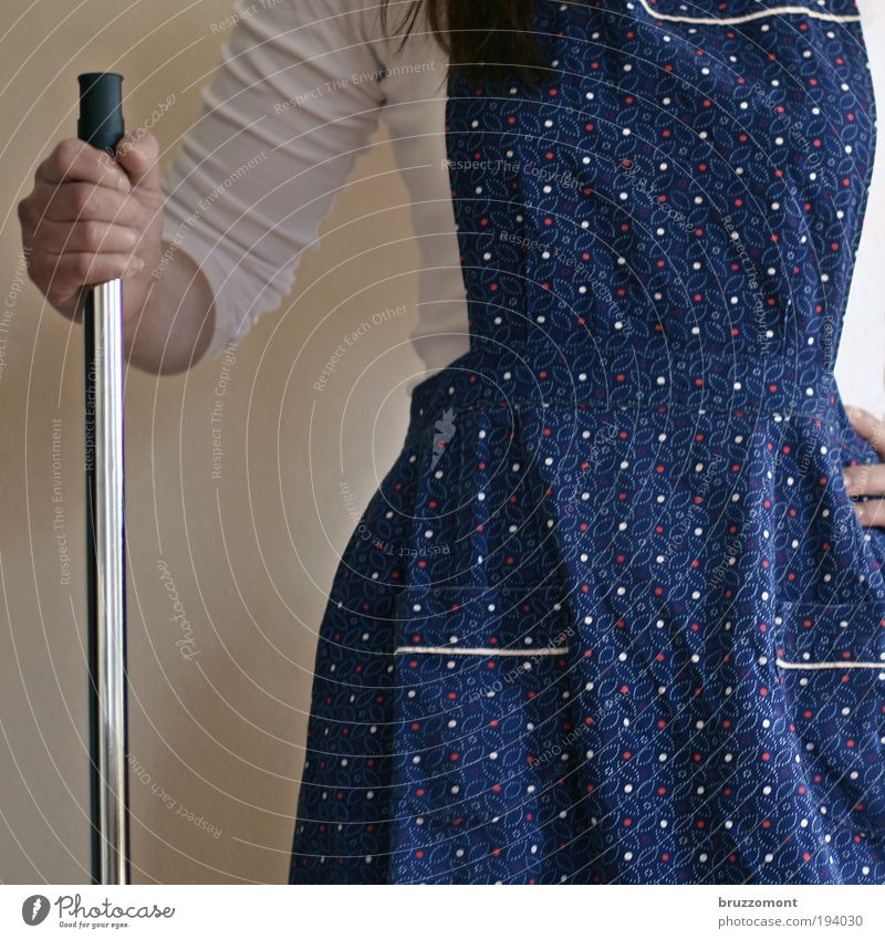 Expect spring Human being Feminine Woman Adults Arm Upper body 1 Protective clothing Apron Work and employment Cleaning Threat Retro Blue Spring fever Brave