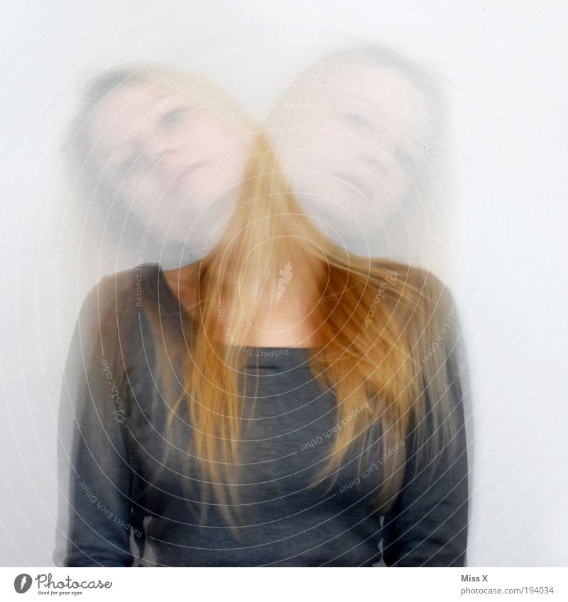 Human being Youth (Young adults) Feminine Movement Head Think Crazy Idea Fear of the future Young woman Looking Copy Space left Motion blur Woman
