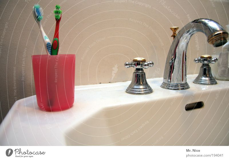 Cold Warmth Together In pairs Bathroom Clean Cleaning Relationship Personal hygiene Mug Sink Tap Room Chrome Toothbrush Dental care