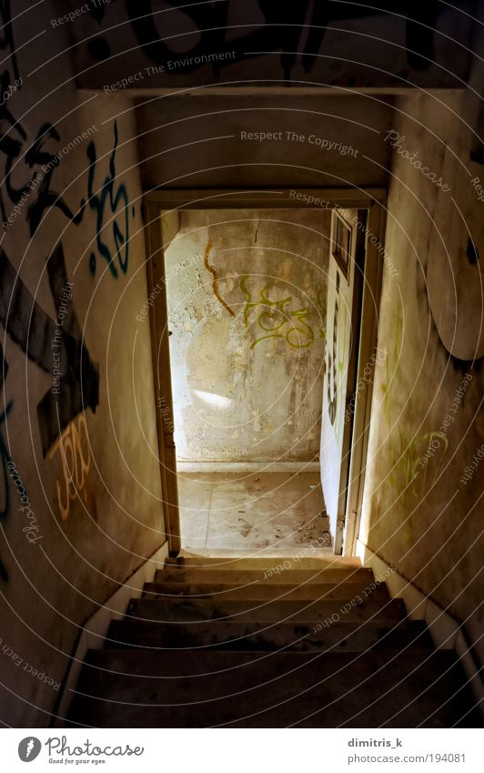 abandoned house staircase Ruin Building Architecture Stairs Door Graffiti Old Dirty Dark Gloomy Loneliness Decadence Decline Descent descending Steps broken