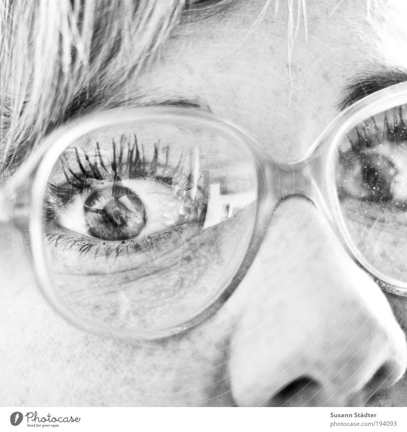 Woman Youth (Young adults) Old Face Eyes Hair and hairstyles Head Blonde Adults Nose Large Eyeglasses Observe Black & white photo Brunette Freckles