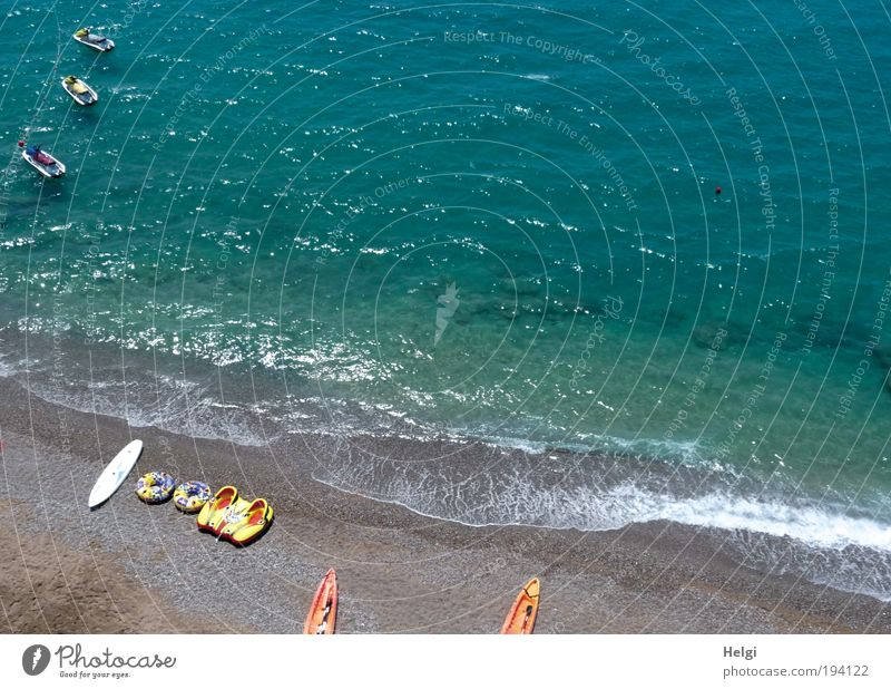 Nature Blue Water Vacation & Travel Ocean Summer Beach Environment Coast Sand Waves Leisure and hobbies Beautiful weather Summer vacation Canoe Multicoloured
