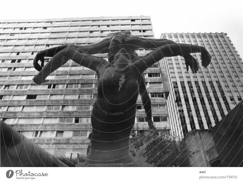 Nature mort High-rise Paris Sculpture Architecture sculture Human being banlieu Black & white photo Statue