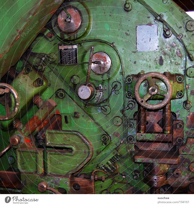 time machine Tool Machinery Time machine Technology High-tech Metal Steel Wait Dirty Green Screw Rust work Workplace Industry Colour photo Deserted